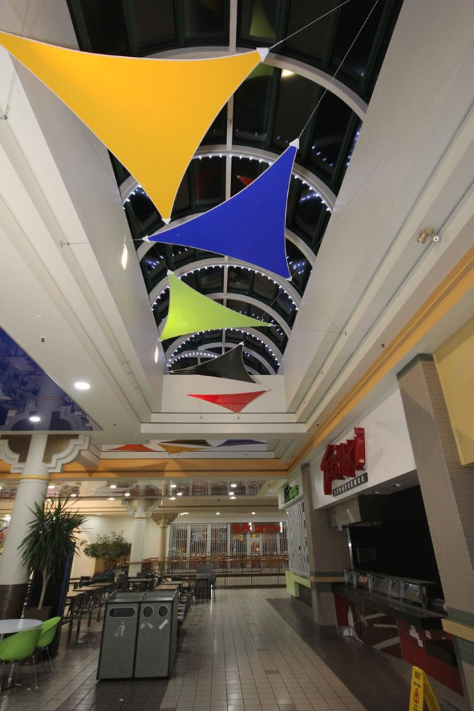 3D multi color modular structure in a mall hallway toronto