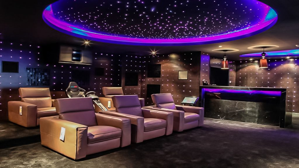 amazing backlit Starry Sky Ceiling in basement home theater
