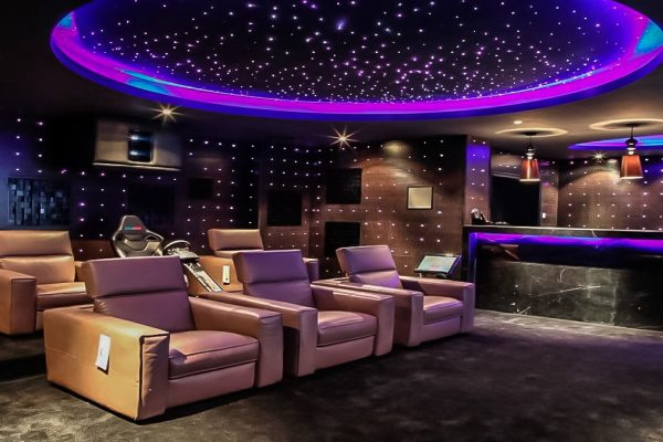 stretch ceiling starry sky in custom home theater