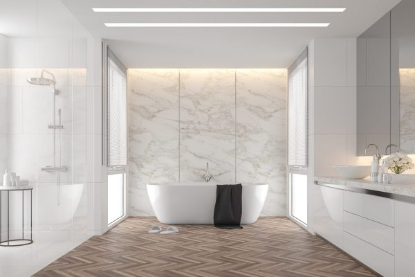 bathroom with stretch ceiling backlit
