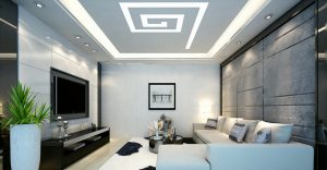 custom living room with Linear Lights Ceiling and custom wall cover