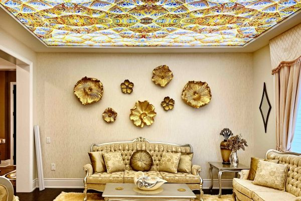 Printed stretch ceiling and wall decor