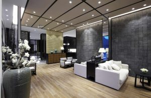 stretch acoustic ceiling with potlights