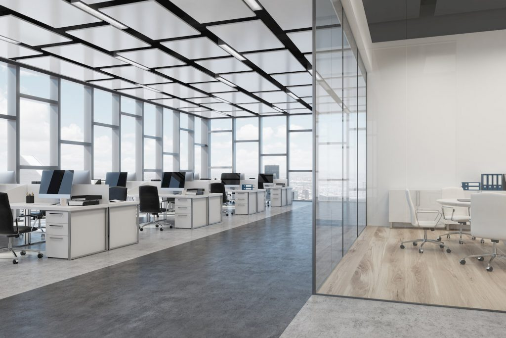 open space office with amazing multilevel modular structure acoustic ceiling