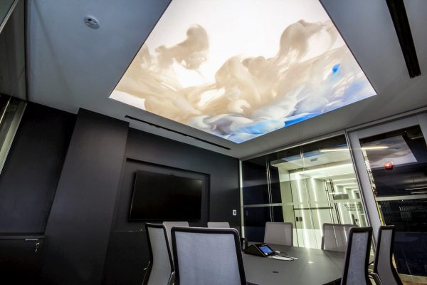 meting room with custom stretch ceiling backlit montreal
