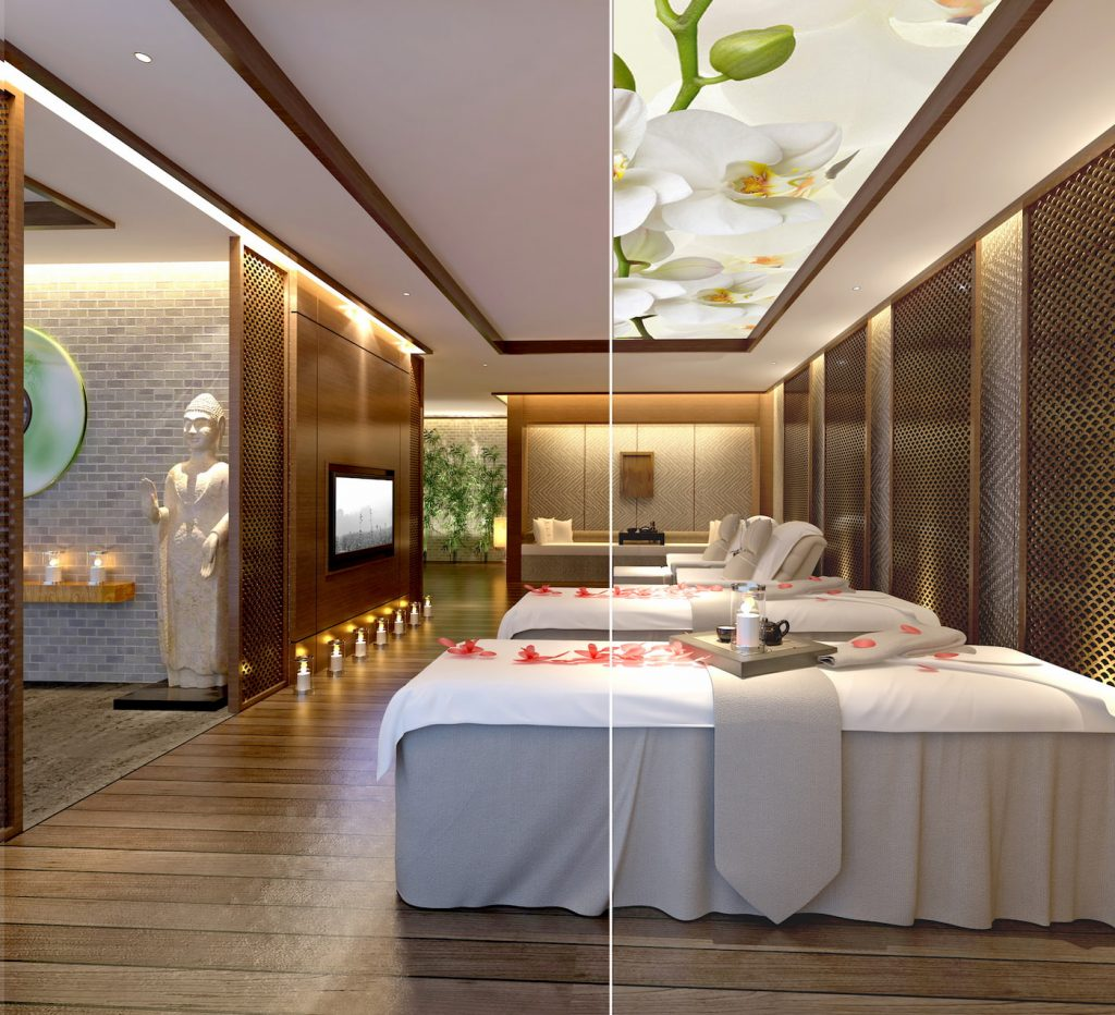 massage therapy room with Double Vision Ceiling