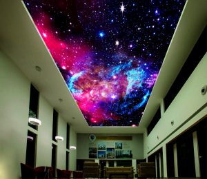 hallway with stretch ceiling starry sky