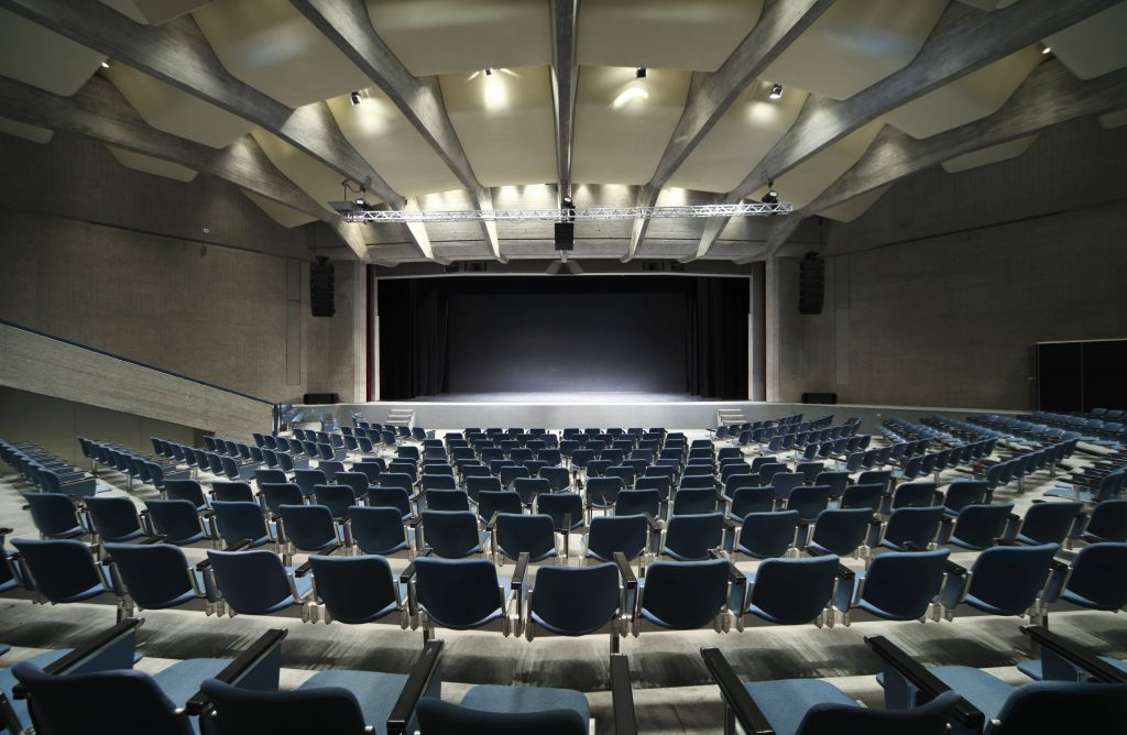 custom auditorium with multilevel stretch acoustic ceiling