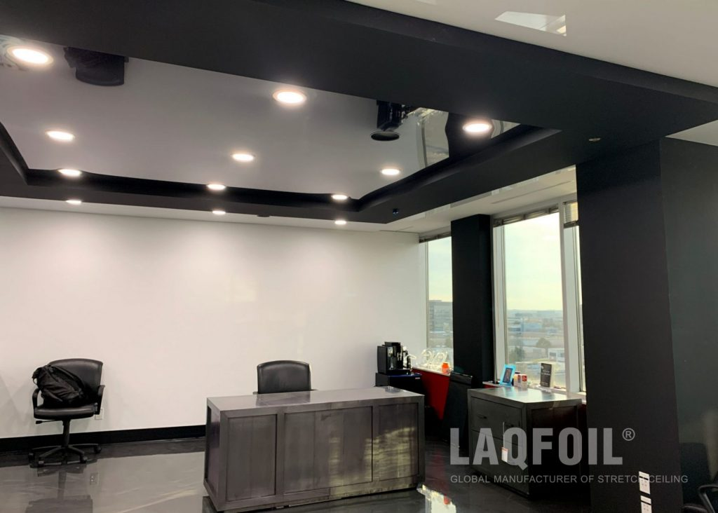 black glossy stretch ceiling in office building toronto