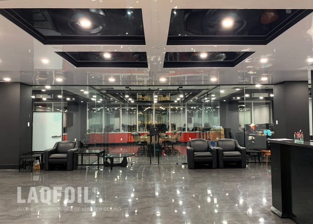 reception area with amazing white and black high gloss multilevel stretch ceiling