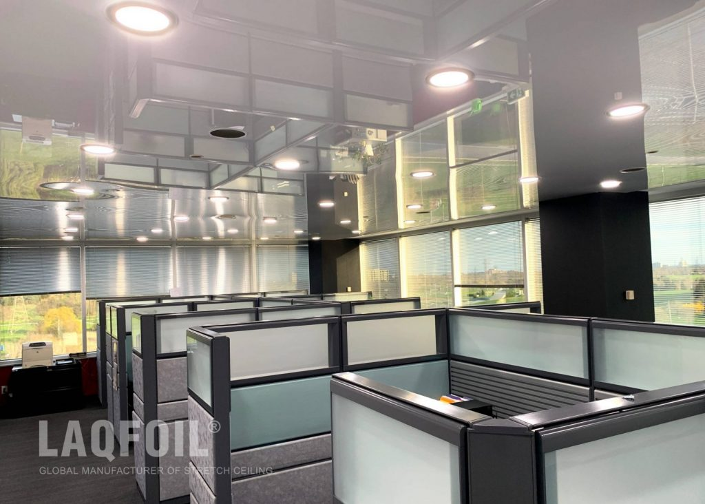high gloss stretch ceiling in custom office
