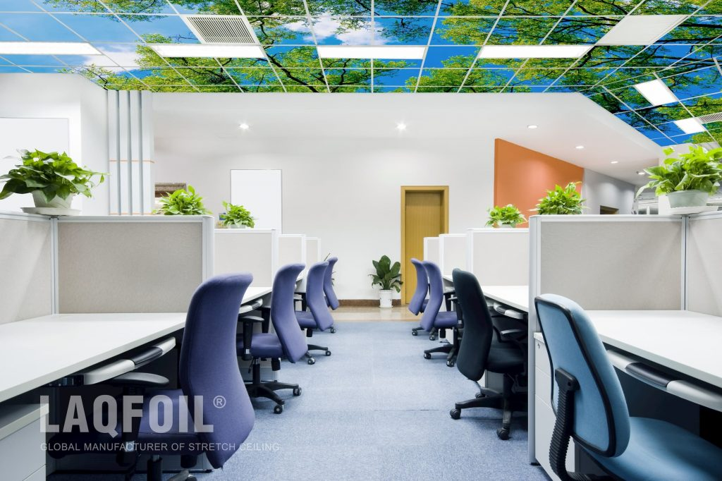 open space office with custom printed ceiling tiles