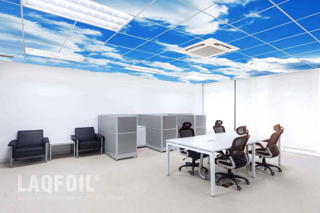 modern office with custom printed ceiling tiles