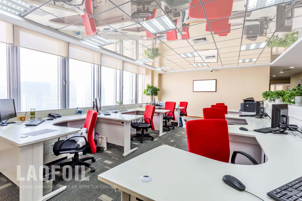 high gloss reflective ceiling in open space office