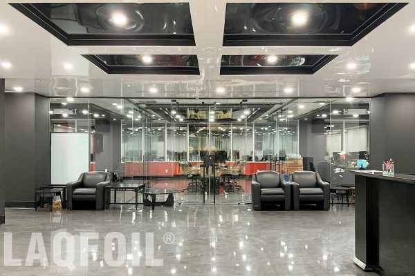 amazing office building with waffle reflective ceiling