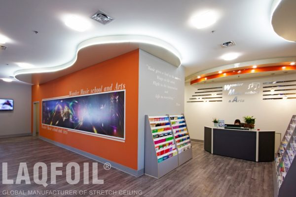 amazing reception area with backlit multilevel matte ceiling