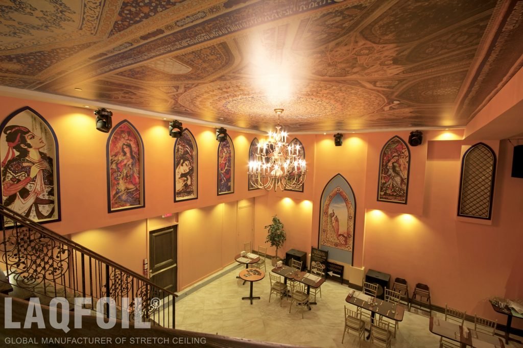 printed ceilings and walls in restaurant