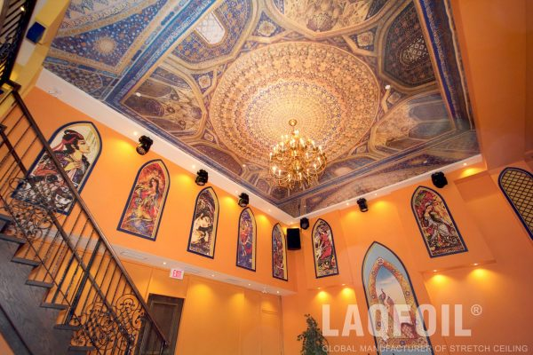 custom wall murals and printed ceiling in classic restaurants