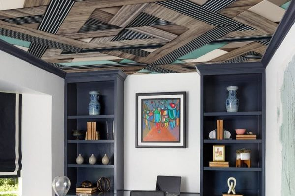 home office with printed ceiling