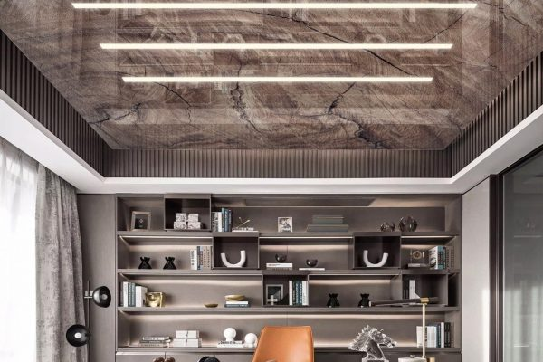 Linear Lights Ceiling in Luxury Home Office